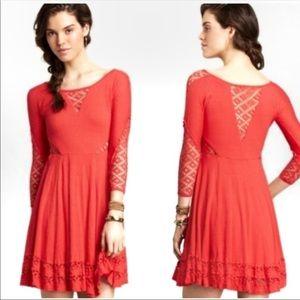 Free People Reddish Coral Mid Length Dress